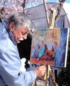 L'artiste et son chevalet au soleil.